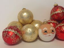 Delicate Pretty 11 Red Gold Glitter Floral West Germany Ornaments Santa Face
