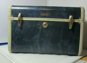 Vintage Blue Samsonite Train Travel Case Suitcase Cosmetics Bag 1950's Shwayder