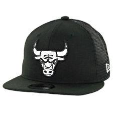 "New Era 9Fifty Chicago Bulls ""Black White"" Trucker Snapback Hat (Black) MLB Cap"