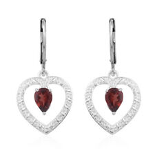 Girls 925 Sterling Silver Pear Garnet Heart Dangle Drop Earrings Ctw 1.6