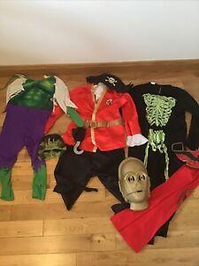 Boys Fancy Dress Bundle Dressing Up Costumes Hulk Captain Hook Skeleton Etc