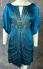 Nanette Lapore Teal Blue Embellished Mini Dress sz 2 (9084)