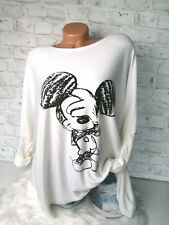 Italy Long Puder Vintage Pullover Gr. 36 38 40 42 Oversized weiß Mickey Mouse