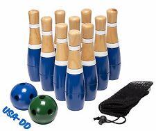 Wooden Lawn Bowling Set Family Yard Pin Play Kids Games Outdoor Garden Beach Bag