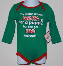 "NEW BABY Boy or Girl ""MY SISTER ASKED SANTA..."" GREEN BODYSUIT NB 12 MONTHS"