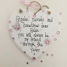 Personalised Giggles Secrets Sometimes Tears Heart Plaque Mum Friend Nan Gift