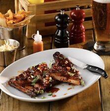 """Set Of 6 Large 40cm Plain White Oval Dinner Plate Steak Rib Porcelain Plate 16"""""""