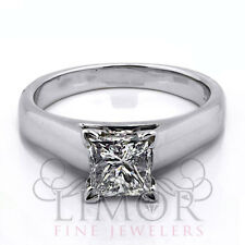 Women's 1.56CT Solitaire Princess Cut Diamond Engagement Ring 14K White Gold