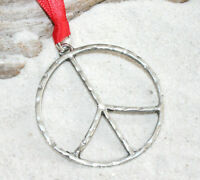 Pewter PEACE SIGN HIPPIE 60s Christmas ORNAMENT Holiday