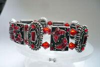 Design Armband Strass hochwertig elastisch Metall Schmuck rot silber schwer NEU
