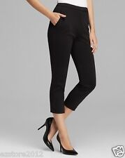 New $118 Joan Vass Women's Stretch Knit Flat Front Capris Capri Pants - Black, M