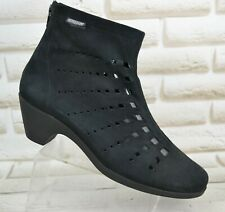MEPHISTO Air-Relax Womens Black Leather Ankle Heeled Boots Shoes Size 6 UK 39 EU