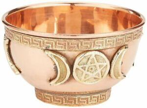 """Triple Moon Pentacle Copper Offering Bowl 3"""", great for altar use, ritual use,"""