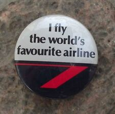1989 British Airways BA I Fly The Worlds Favourite Airline Slogan Pin Badge