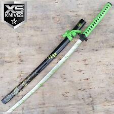 ZOMBIE WAR Neon Green Slayer Katana SAMURAI Sword BIOHAZARD TSUBA Carbon Steel