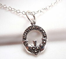 Marcasite Claddagh Necklace Sterling Silver Represents Love Loyalty Friendship