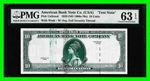 Specimen Test Note 1929 $10 Denom. American Bank Note Co. PMG 63EPQ Uncirculated