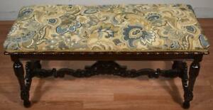 1900s Antique Victorian Carved dark Mahogany Window Bench / New Upholstery