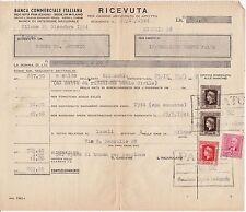 BANCA COMMERCIALE ITALIANA - RICEVUTA DI AFFITTO CON RARE MARCHE DA BOLLO,  1944