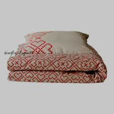 IKEA TWIN Duvet Cover with Pillowcase Ryssby 2014 Beige Red Hearts