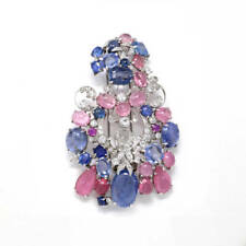 Pink and Blue Sapphire Brooch (47.85 ct) 18K white Gold & Diamonds