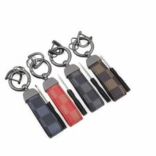 Leather Lanyard Keychain Car Square Pattern Gunmetal Buckle Holder Jewelry Gift