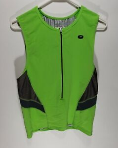 Womens Sugoi Lime Green Sleeveless Cycling Zip Up Jersey Size XL