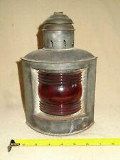 New listing Vintage Nautical Marine Kerosene Lantern Lamp Port Side - Red Glass Globe