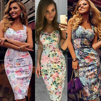 Summer Women Bandage Sleeveless Bodycon Dress Floral Evening Party Gown Dress US