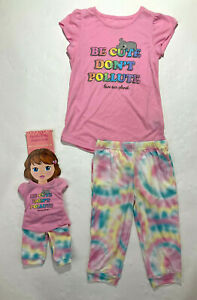 St. Eve Girls Pink Be Cute Don't Pollute Pajamas with Matching Doll Pajamas Set