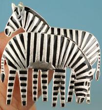 8.0 Gram Purity 925 Fine Silver Solid Cloisonne Zebra Brooch Statue