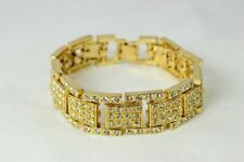 Mens 8.5'' Inch Gold Plated 15 mm Fancy Iced Bling Cubic Zirconia Wrist Bracelet