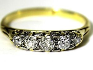 Victorian 0.40ct Old Cut Diamond 18ct Yellow Gold Boat Ring size K 1/2 ~ 5 1/2