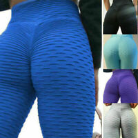 Womens Anti-Cellulite Ruched Compression Leggings Butt Lift Yoga Pants Plus Size