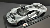 1/18 Diecast Maisto 🇺🇸 2017 Ford GT Silver/Racing Stripes.