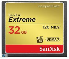 NUOVO Originale Sandisk 32 GB Extreme Compact Flash CF CARD UDMA 800X a 120MB/s 7 32 G