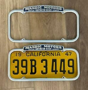 Mandic Motors Chrysler Plymouth H. Beach CA License Plate Frames Pair 1940-1955