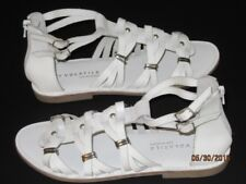 Volatile WHITE LEATHER SANDALS Roman Gladiator Flats Silver Ankle Buckles 9B 9.5