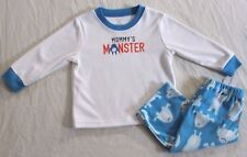NEW~CARTERS TODDLER BOY 2 PIECE WHITE/BLUE MONSTER WINTER PAJAMAS SIZE 4T