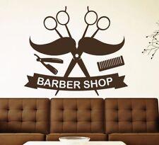 Barber Shop Salon Wall Decal Mustache Vinyl Haircut Wall Sticker Wallpaper Art