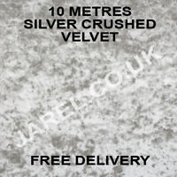 10 Metres Silver Crushed Velvet upholstery Fabric Curtains chair throws sofa diy