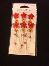 2 PACKS RED FLOWERS & WIRE STEMS TOPPERS ART CRAFT SCRAPBOOK PAPER CARD C8AC060