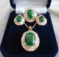 Set 3  Green Jade Zircon 18K Gold Plated Earrings+Ring+Pendant Necklace Jewelry