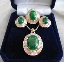 Set 3  Green Jade Zircon 18K Gold Plated Earrings+Ring+Pendant Necklace Jewelry