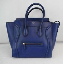CELINE Large Phantom Luggage Handbag Indigo Royal Blue Drummed Calf Leather