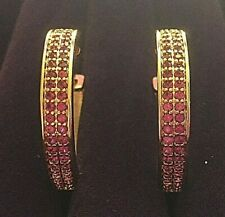 Large gold hoop earrings 28mm with pink rubies REAL 18k yellow gold filled BOXED