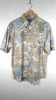 Vintage 90s Green Crazy Pattern Abstract Vintage Short Sleeve Shirt Size L Large