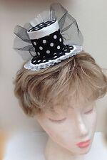 Black and White polka dot mini top hat fascinator