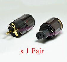 1Pair Gold Plated C-079 + P-079e Schuko Europe EU Power Plug IEC Audio Connector