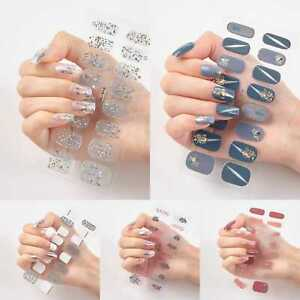 Nail Stickers Nail Wrap Self Adhesive Full Cover Nail Art Glitter Colour 16pcs